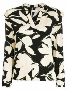 Calvin Klein floral print ruffle detail blouse - NEUTRALS
