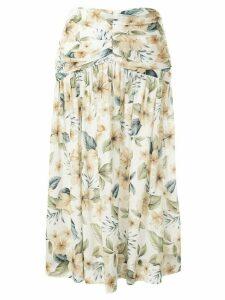 BEC + BRIDGE Fleurette floral midi skirt - White