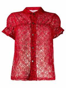 Comme Des Garçons Girl sheer lace shirt - Red