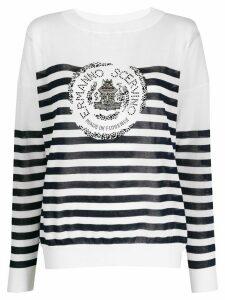 Ermanno Scervino striped studded-logo sweatshirt - White