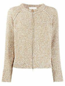 Fabiana Filippi button down metallic-knit cardigan - Brown