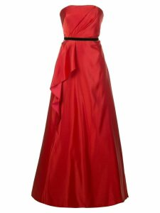 Marchesa Notte draped belted evening dress - Red