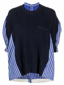 Sacai shirt insert knitted top - Blue