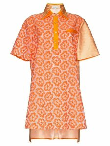 Shuting Qiu floral-embroidered flared dress - ORANGE