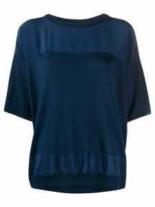 Max & Moi contrast panels silk cashmere blend knitted top - Blue
