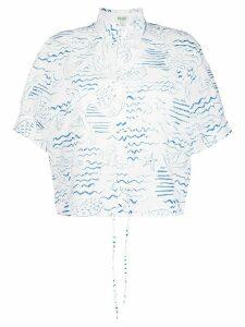Kenzo ocean-print eyelet lace blouse - White