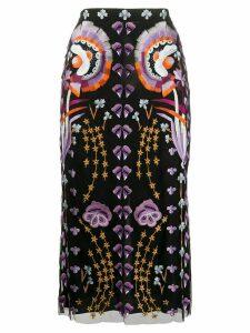 Temperley London Effie embroidered-tulle midi skirt - Black