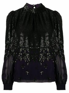 Temperley London sequined long-sleeve blouse - Black