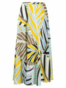 Emilio Pucci leaf print long skirt - Yellow