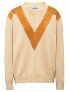 Prada panelled knitted jumper - NEUTRALS
