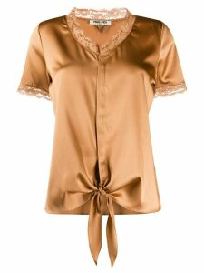 Max & Moi lace-trimmed satin blouse - Brown