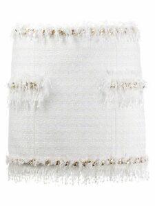 Balmain tweed fringe-trimmed skirt - White