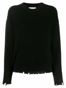 Laneus frayed crew neck jumper - Black