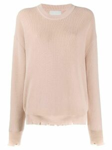 Laneus frayed ribbed jumper - NEUTRALS