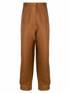 Emilio Pucci pleat detail high waist trousers - Brown