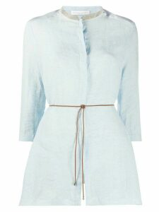 Fabiana Filippi tie waist mandarin collar top - Blue