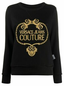 Versace Jeans Couture logo-embroidered sweatshirt - Black