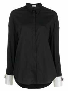 Brunello Cucinelli contrasting cuff loose-fit shirt - Black