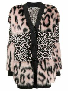 Stella McCartney leopard-print cardi-coat - Black