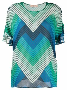 Twin-Set striped sheer blouse - Blue