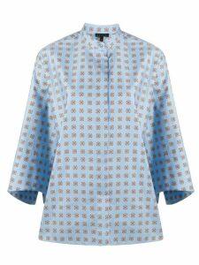 Escada printed mandarin-collar blouse - Blue