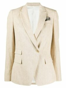 Brunello Cucinelli fitted single-breasted blazer - NEUTRALS