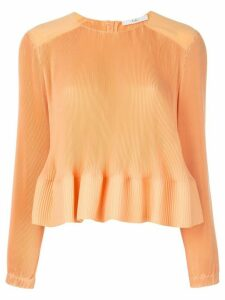 Tibi yoked pleated top - ORANGE