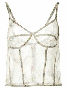 R13 sheer floral top - White