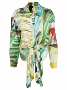 Rosie Assoulin watercolour print knotted blouse - Multicolour