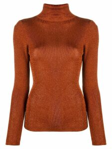 Temperley London metallic roll neck jumper - ORANGE