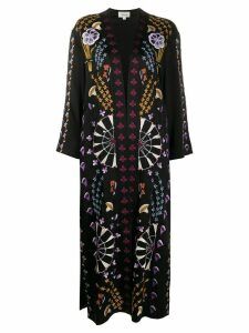 Temperley London oversized floral print coat - Black