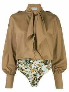 Silvia Tcherassi Gemma pussy-bow cotton blouse - Brown