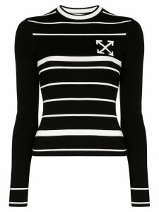 Off-White striped intarsia-knit jumper - Black