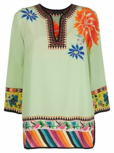 Etro floral-print tunic top - Green