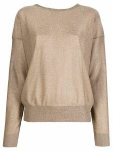 LIU JO open-back lurex jumper - Brown
