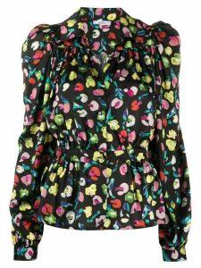 Amen pointed collar floral-print shirt - Black