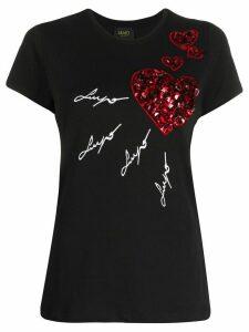 LIU JO stone embellished heart T-shirt - Black