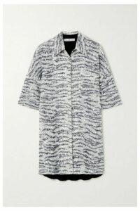 In The Mood For Love - Zebra-print Sequined Tulle Mini Shirt Dress - Zebra print