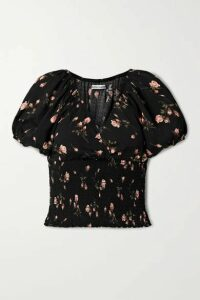 Reformation - Alta Smocked Floral-print Crepe Top - Black
