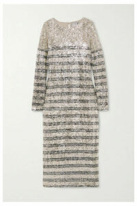 In The Mood For Love - Bettina Sequined Tulle Midi Dress - Silver