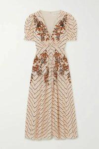 Saloni - Lea Button-embellished Printed Silk Crepe De Chine Midi Dress - Cream