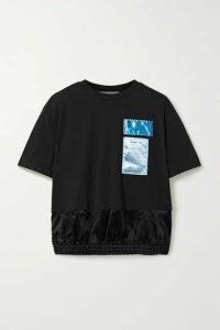 Helmut Lang - Appliquéd Cotton-jersey And Satin T-shirt - Black
