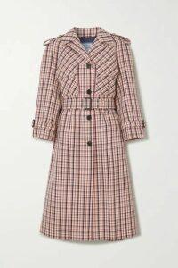 Prada - Checked Wool Trench Coat - Red