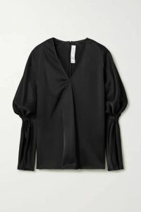 Victoria Beckham - Wrap-effect Gathered Satin Blouse - Black