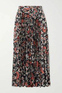 Saloni - Kim Pleated Printed Satin-jacquard Midi Skirt - Black