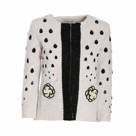 The Extreme Collection - White Classic Jacket With Black Embellishment Letizia