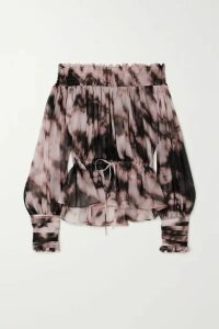 Redemption - Off-the-shoulder Smocked Tie-dyed Plissé Silk-chiffon Top - Pink