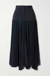 Rokh - Paneled Woven And Pleated Chiffon Maxi Skirt - Midnight blue