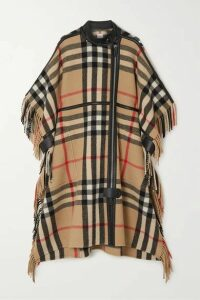 Burberry - Leather-trimmed Fringed Checked Wool-blend Cape - Beige