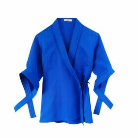 NOT - Blue Silk Cotton Faille Wrap Top With 3/4 Sleeves & Criss-Cross Details